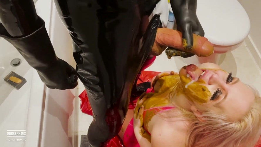 Filthy rubber girl eats shit and receives a face load of cum - With Actress: RubberHaus [MPEG-4] (2020) [FullHD 1920x1080]